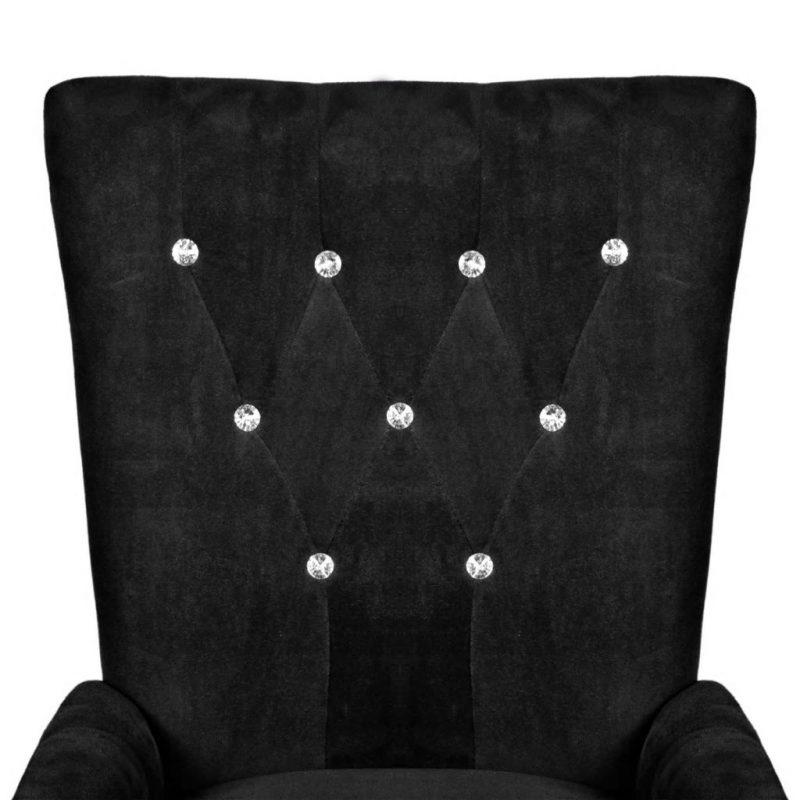 Fotelj črn žamet