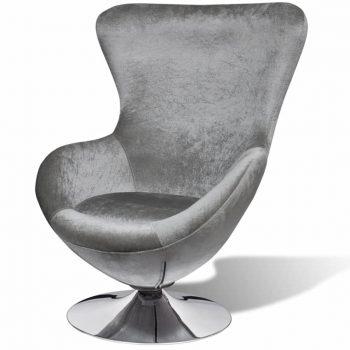 Fotelj jajčaste oblike srebrne barve