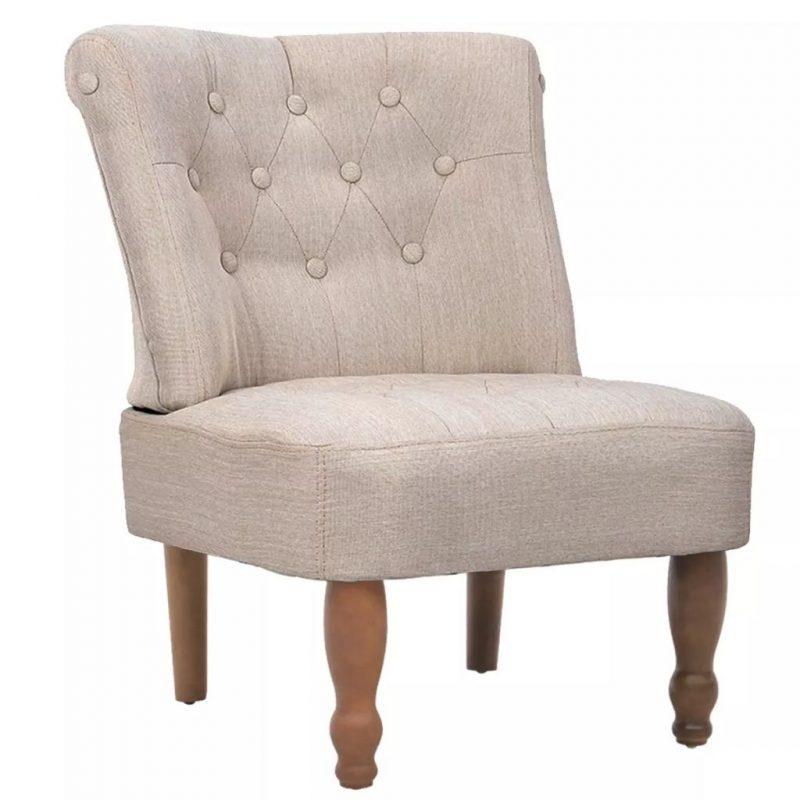 Francoski stol tekstil kremne barve