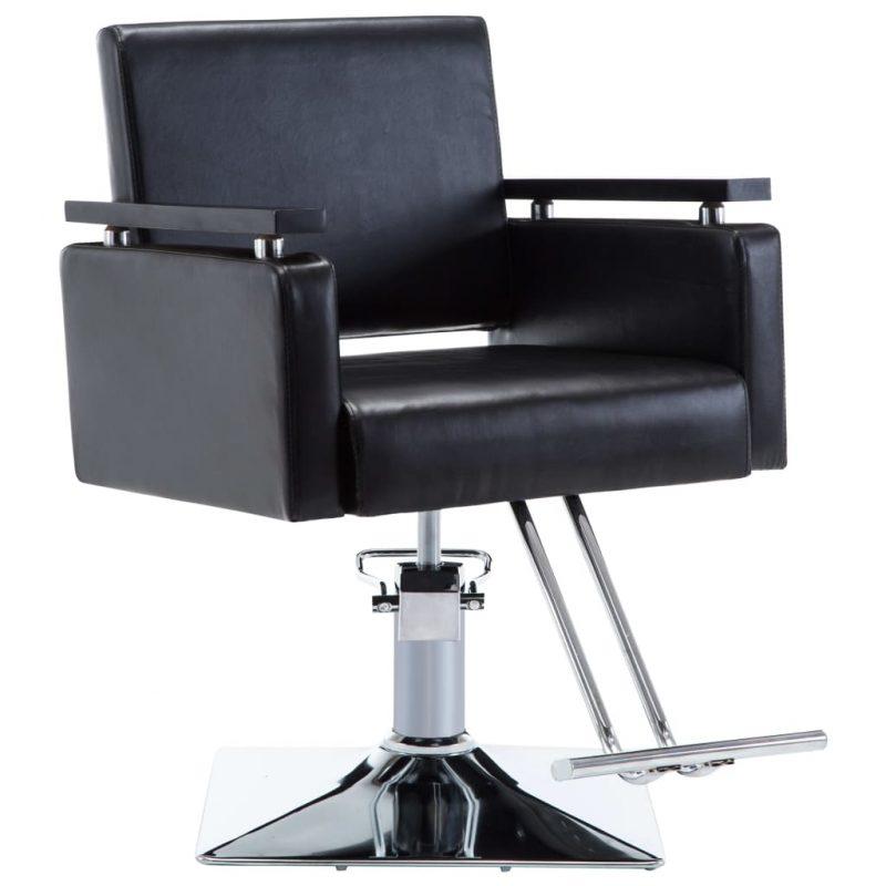 Frizerski stol iz umetnega usnja črne barve