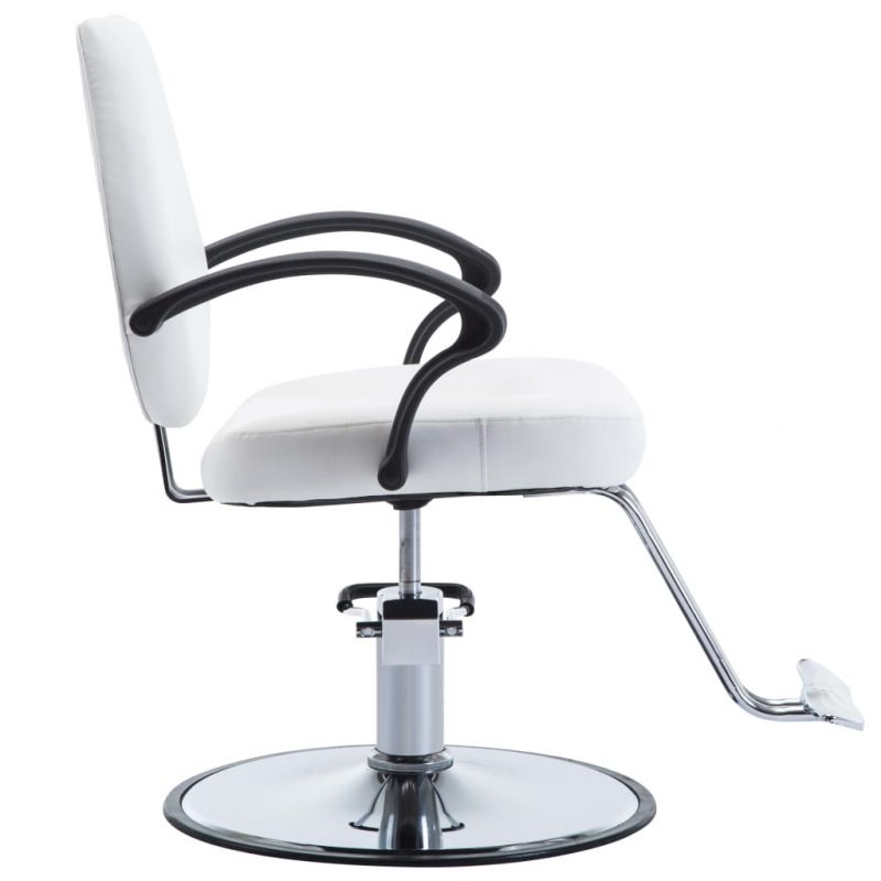 Frizerski stol iz umetnega usnja bele barve