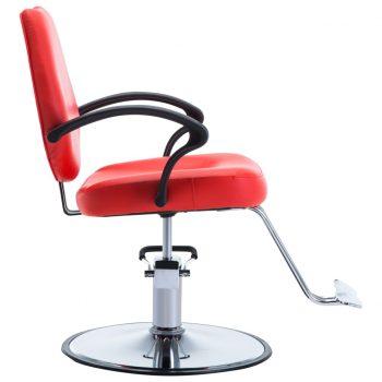 Frizerski stol iz umetnega usnja rdeče barve