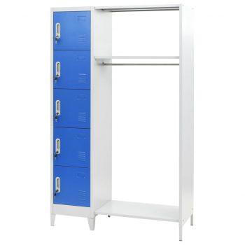 Garderobna omarica kovinska 110x45x180 cm modra in siva