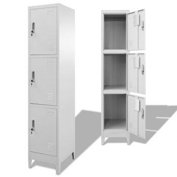 Garderobna omarica na ključ s 3 predelki 38x45x180 cm