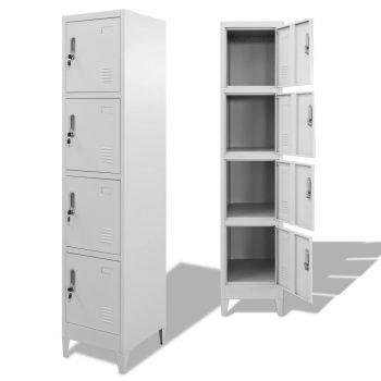 Garderobna omarica na ključ s 4 predelki 38x45x180 cm