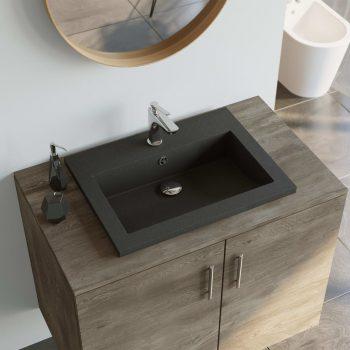 Granitni umivalnik 600x450x120 mm črne barve