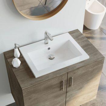 Granitni umivalnik 600x450x120 mm bel