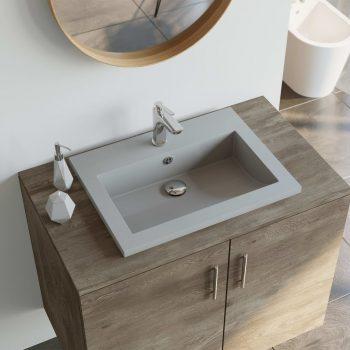 Granitni umivalnik 600x450x120 mm sive barve