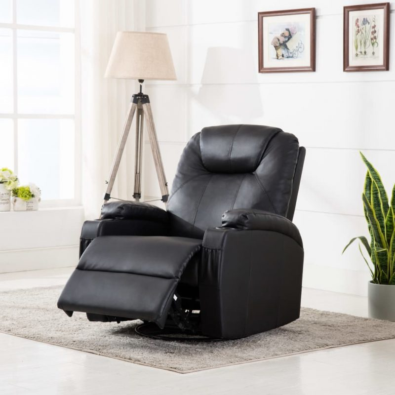Gugalni masažni stol črno umetno usnje