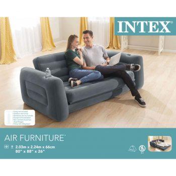 Intex Izvečni kavč siv iz vinila