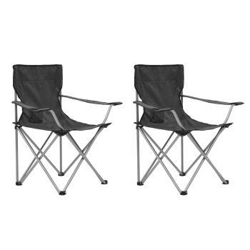 Kamping miza in stoli 3 kosi sive barve