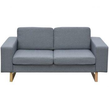 Kavč Dvosed in Trosed Komplet Svetlo Sive Barve