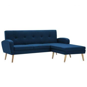 Kavč L oblike z oblogo iz blaga 186x136x79 cm moder