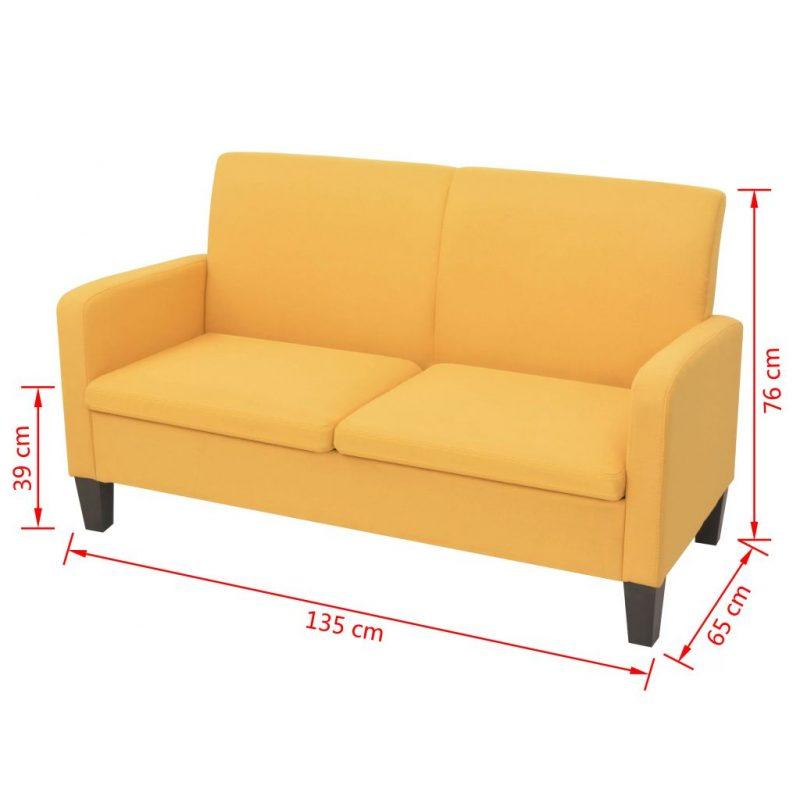 Kavč dvosed 135x65x76 cm rumene barve
