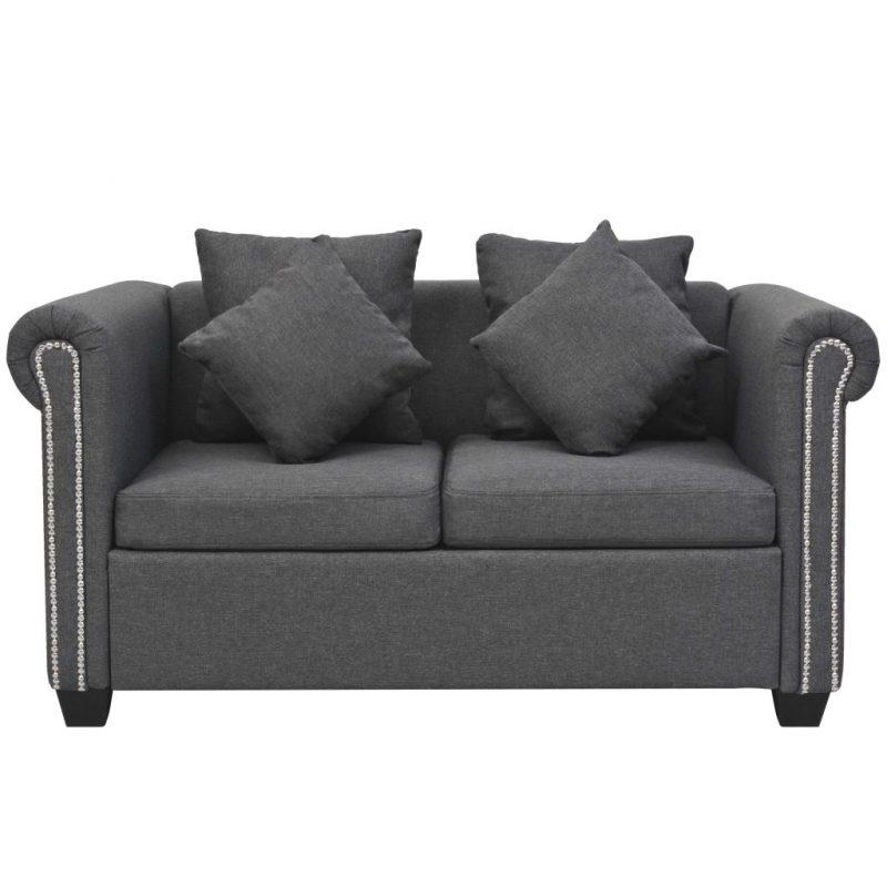 Kavč dvosed iz blaga 143x75x73 cm temno siv