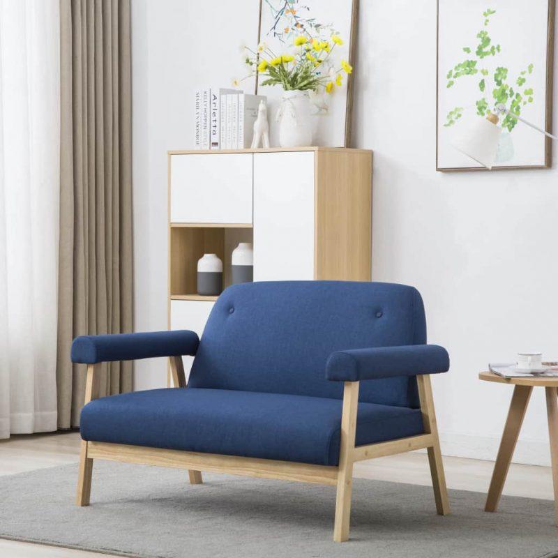 Kavč dvosed iz blaga modre barve