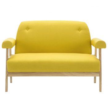 Kavč dvosed iz blaga rumene barve
