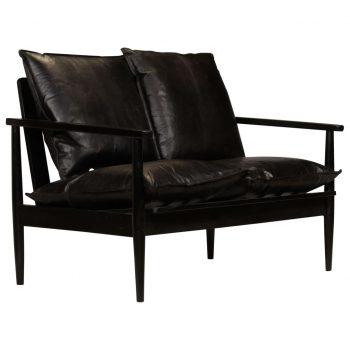 Kavč dvosed iz pravega usnja in akacijevega lesa črne barve