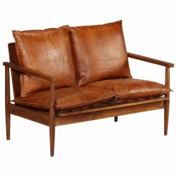 Kavč dvosed iz pravega usnja in akacijevega lesa rjave barve
