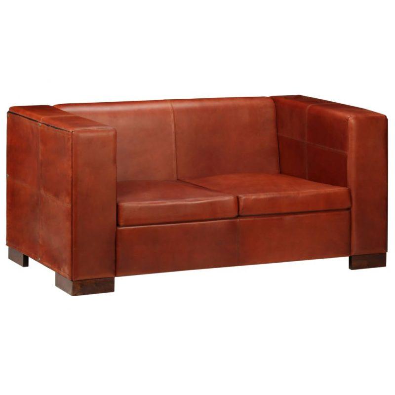 Kavč dvosed iz pravega usnja temno rjave barve