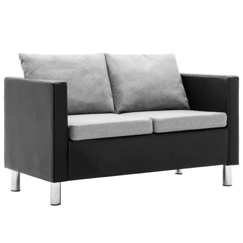 Kavč dvosed umetno usnje črne in svetlo sive barve
