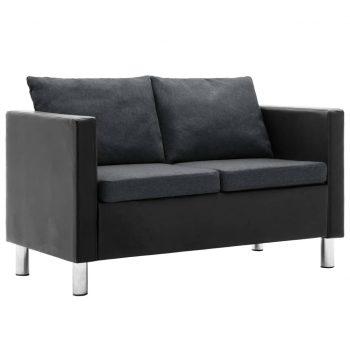 Kavč dvosed umetno usnje črne in temno sive barve