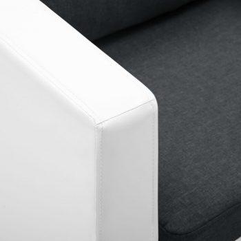 Kavč dvosed umetno usnje bele in temno sive barve