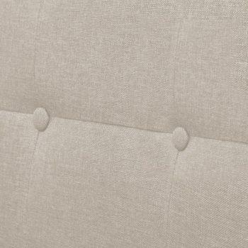 Kavč dvosed z naslonjali za roke iz jekla in blaga krem