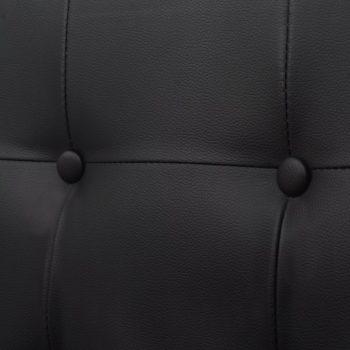 Kavč dvosed z naslonjali za roke umetno usnje in jeklo črn