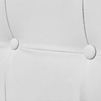 Kavč dvosed z naslonjali za roke umetno usnje in jeklo bel
