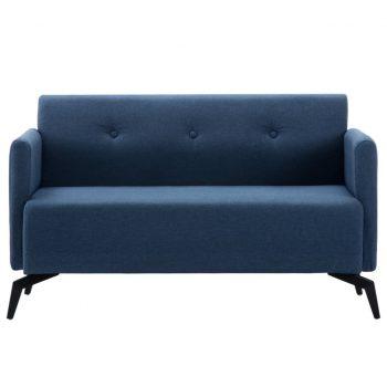 Kavč dvosed z oblogo iz blaga 115x60x67 cm modre barve