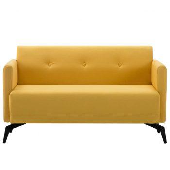Kavč dvosed z oblogo iz blaga 115x60x67 cm rumene barve