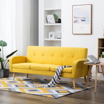 Kavč trosed iz blaga rumene barve