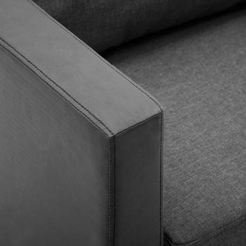 Kavč trosed umetno usnje črne in svetlo sive barve