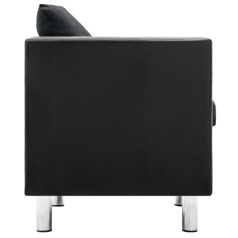 Kavč trosed umetno usnje črne in temno sive barve