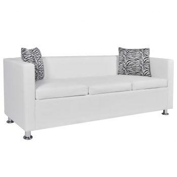 Kavč trosed umetno usnje bele barve
