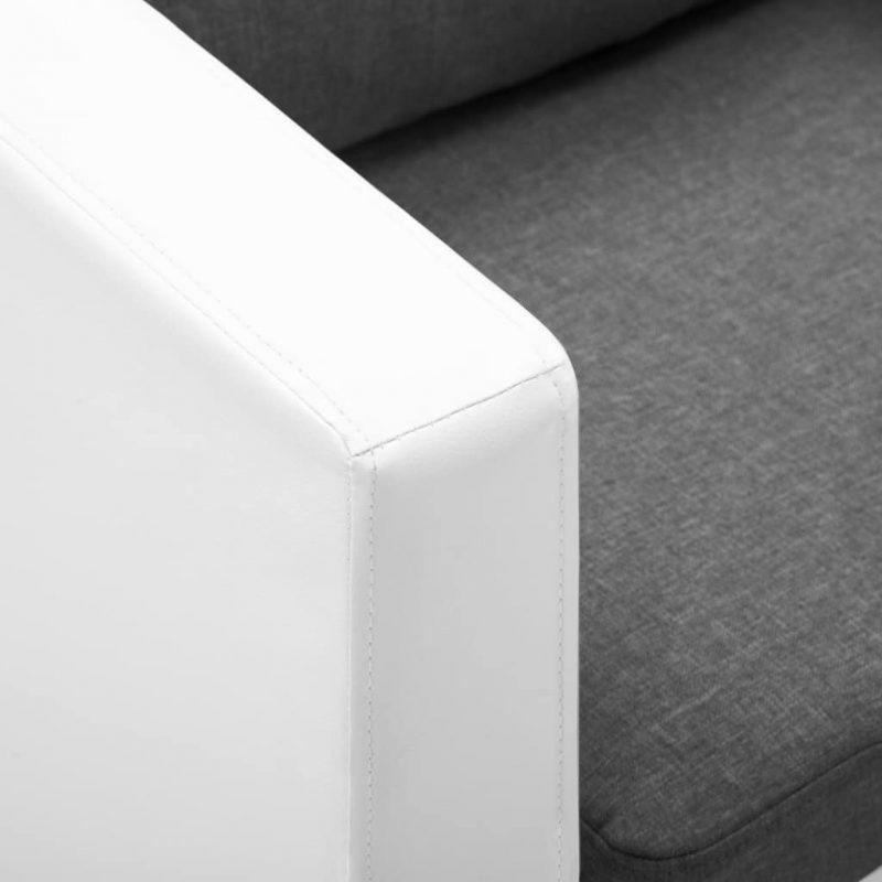 Kavč trosed umetno usnje bele in svetlo sive barve
