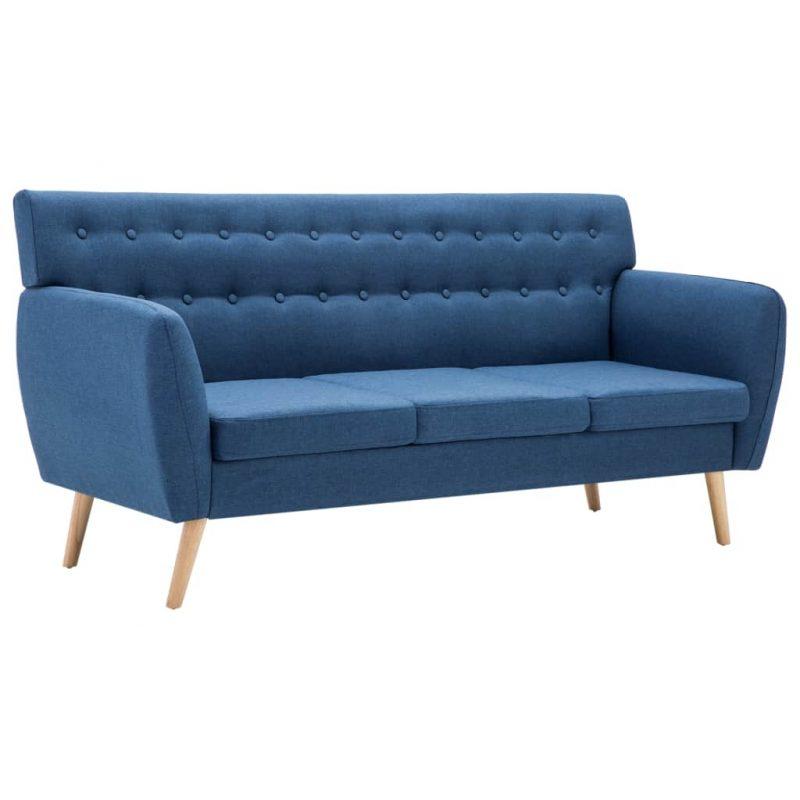 Kavč trosed z oblogo iz blaga 172x70x82 cm modre barve