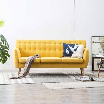 Kavč trosed z oblogo iz blaga 172x70x82 cm rumene barve