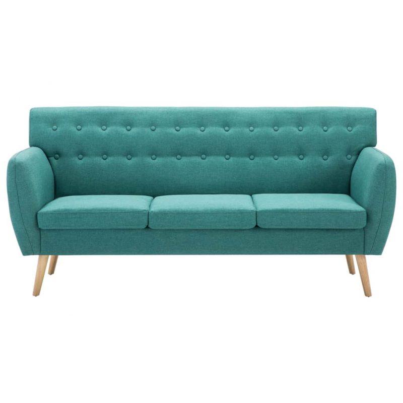 Kavč trosed z oblogo iz blaga 172x70x82 cm zelene barve