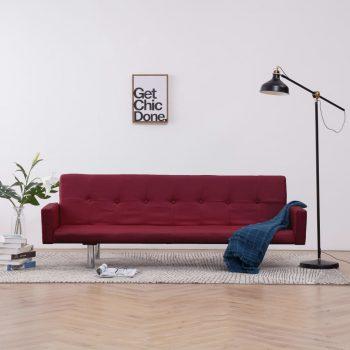 Kavč z ležiščem in naslonjalom vinsko rdeč poliester