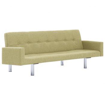 Kavč z ležiščem in naslonjalom zelen poliester