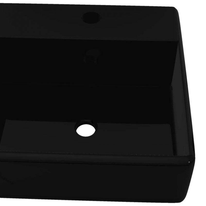 Keramičen Kvadraten Kopalniški Umivalnik z Odprtino za Pipo Črne Barve