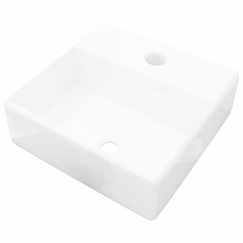 Keramičen kopalniški umivalnik z odprtino za pipo bel kvadraten