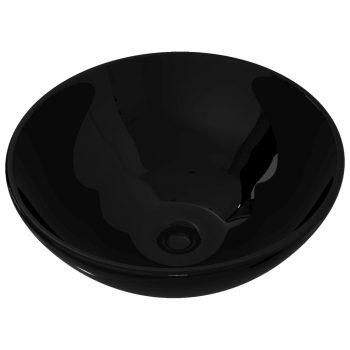 Keramični Kopalniški Umivalnik Črn Okrogel