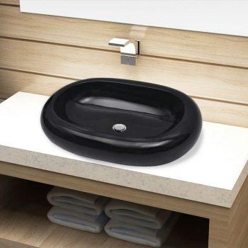 Keramični Kopalniški Umivalnik Črn Ovalen