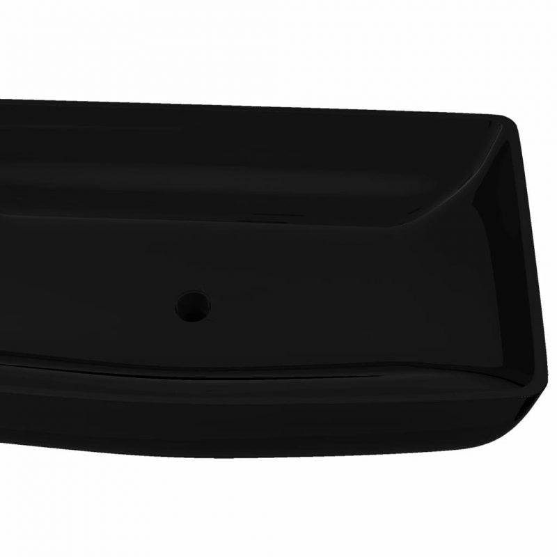 Keramični Kopalniški Umivalnik Črn Pravokoten