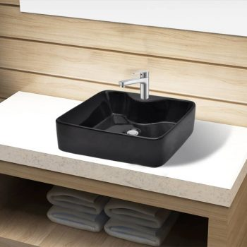 Keramični Kopalniški Umivalnik z Odprtino za Pipo Črn Kvadraten