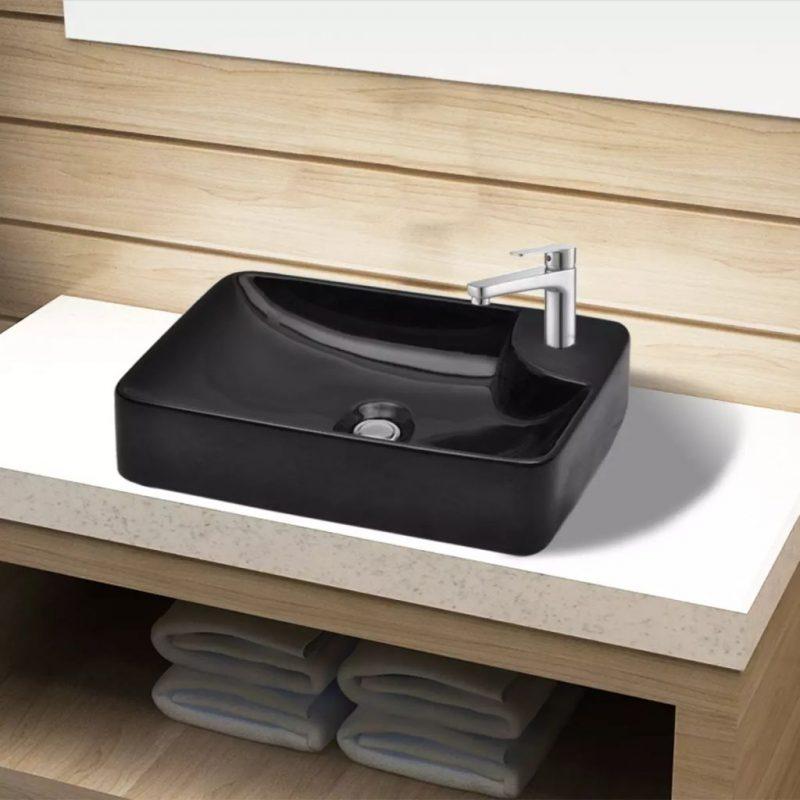 Keramični Kopalniški Umivalnik z Odprtino za Pipo Črne Barve