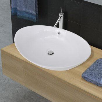 Keramični ovalni umivalnik z izlivnim sist. dimenzije 59 x 38
